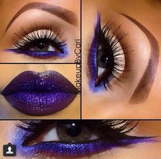Electric Blue and Purple eye make up Gorgeous Makeup, Pretty Makeup, Love Makeup, Makeup Art, Hair Makeup, Makeup Ideas, Makeup Lips, Devil Makeup, Makeup Drawing