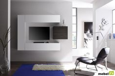 Buy our NINA Design wall-mounted TV, white lacquered and wenge on your Bo … - TV Unit Entertainment Shelves, Dresser With Tv, Modern Wall Units, Modular Walls, Tv Wall Design, Wall Mounted Tv, Interior Design Companies, Deco Design, Home Living Room