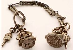 VERY RARE ANTIQUE GEORGIAN LARGE DOUBLE THREE CUT STEEL FACE SEAL FOB & CHAIN.  $575  #intaglio