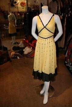 1980's MaxMara Yellow Silk Dress found on etsy