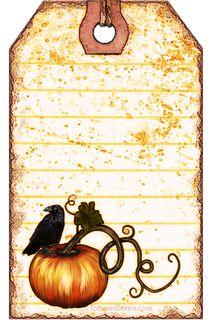 Pumpkin Crow Primitive Hangtag