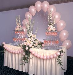 Ideas For Wedding Table Balloons Pink Table Decorations, Wedding Balloon Decorations, Wedding Balloons, Baby Shower Decorations, Quinceanera Decorations, Wedding Centerpieces, Party Ballons, Pink Balloons, Latex Balloons