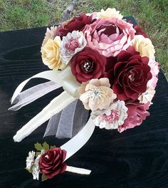 Paper Bouquet - Paper Flower Bouquet - Wedding Bouquet - Vintge Book Theme - Custom Made - Any Color