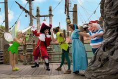 Tinker Bell, Hook, Peter Pan, Wendy & Smee at Disneyland