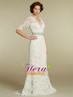 2012 Hot Sell Half Long Sleeve Lace Wedding Dress