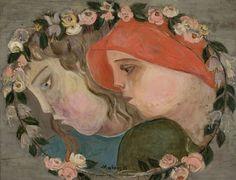 Dwie głowy dziewczynek w girlandzie kwiatów - Tadeusz Makowski