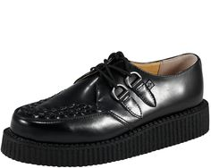 """$62.00 T.U.K. Shoes A6806 #punk The Original T.U.K. Creepers with Classic Low Man Made Composition Sole. Black Leather, with Black Woven Interlace, and Silver Metal D-Rings.  The """"Low-Round"""" Creeper has a 1 1/2 inch Sole."""