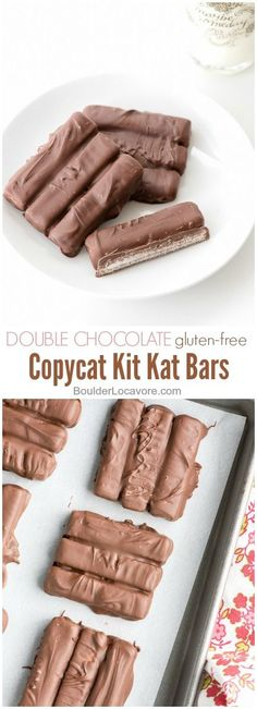 Double Chocolate Copycat Kit Kat Bars - gluten-free. Chocolate with crisp wafers inside for a great snap! Gluten option too. - BoulderLocavore.com https://mammahealth.com/gluten-free/ #JamiesGlutenfreerecipes