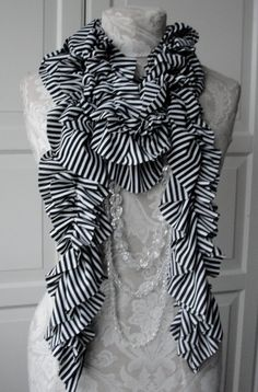 Double Ruffle SCARF by FAIRYTALE13  Black and White by FAIRYTALE13, $30.00