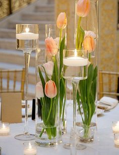 Orange tulip centerpieces
