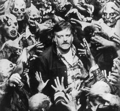 George A. Romero (American zombie film horror director: Night of the Living Dead The Crazies / Code Name: Trixie Dawn of the Dead Creepshow Day of the Dead Zombie Movies, Horror Movies, Horror Fiction, Pulp Fiction, The Walking Dead, Zombies, Empire Of The Dead, Happy Birthday George, Movies