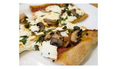 Roasted Garlic Pizza with Mushrooms and Spinach