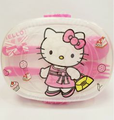 Mommy, I'm hungry...  Take the lunch food with this cute Hello Kitty Lunch Box Set. It have a set of box with separator for your food, 1 spoon and 1 fork. let have fun with your meal time...