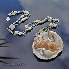 Long Seashell Necklace, Mosaic Seashell Pendant, Mermaid Necklace, Beach Style Jewelry, Long Sweater Necklace, Seashell Jewelry by MonaLisasSecret on Etsy https://www.etsy.com/listing/213934679/long-seashell-necklace-mosaic-seashell