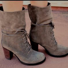 Paulette-Cuffed Lace Up Bootie from Mia Shoes.