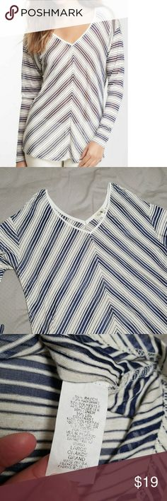 Lile New💎Double V neck sheer stripped top Super cute and flattering! V neck on front and back. Long sleeves. Dropped shoulder seems. Sheer - requires cami or a fun bra if that's more your style.   Colors are like an off white and navy.   Only worn once - in like new condition.   ✖From a smoke free home  🛍Bundle with at least one other item for a discount missa Tops Tees - Long Sleeve