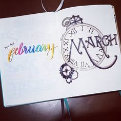 Bullet journal monthly cover page, hand lettering, clock drawing. | @bujo.brookie