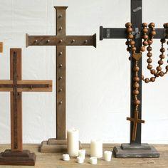 Indigo Hand Carved Mango Wood Cross