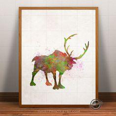 Frozen Print Watercolor, Sven Poster, Disney Art, Illustration, Giclee Frozen Wall Art, Kid Artwork, Comic, Fine, Home Decor