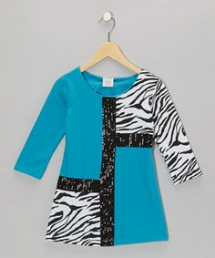Take a look at this Blue Mod Zebra Terry Dress - Toddler & Girls by S.W.A.K. on #zulily today!