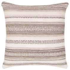 "Rich with visual texture, the Surya Isabella decorative pillow lends beds and sofas a versatile and traditionally inspired accent. This plush cotton cushion showcases graphic intrigue with patterned stripes of white and gray tones. 18""W x 18""H. 20""W x 20""H. 22""W x 22""H. 30""W x 30""H. 100% Cotton. Down fill."