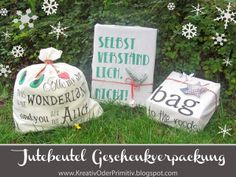 Jute Beutel, Taschen, bemalen, Geschenkerpackung, Recycling, upcycling, present, geschenk, sprüche, basteln, stoff, malen, motto, motiv, ver... Recycling, Presentation, Jute Bags, Pouch Bag, Pouches, Go Green, Upcycle, Presents, Diy Projects
