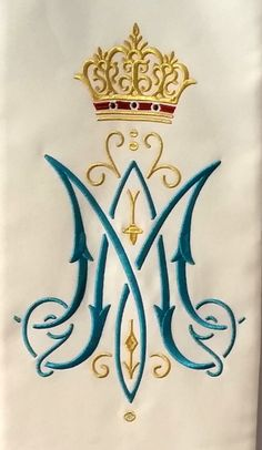 Royal monogram of Our Lady Blessed Mother Mary, Divine Mother, Catholic Art, Religious Art, Maria Tattoo, Catholic Tattoos, Embroidery Hoop Nursery, Crown Symbol, Christian Symbols