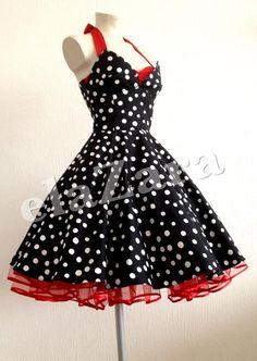 Rockabilly dress with polka dots by elaZara on Etsy