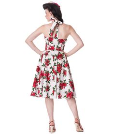 Hell Bunny 50's Cannes Rose Floral Dress In White | Tiger Milly