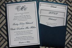 Formal Navy & White Monogram & Border Clutch Pocket Wedding Invitations