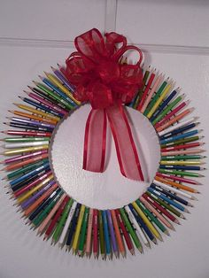 COLORFUL PENCIL Door Wreath// Draw Me by MajesticSilkFlowers, $40.00