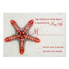 36 best m rsvp response card images on pinterest wedding rsvp red starfish sand beach destination wedding rsvp stopboris Images
