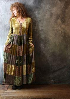 RESERVED for Olga Please do not purchase Vintage 1960s Bohemian Velvet Patchwork Cinderella Dress Lace Up Front Festival Dress