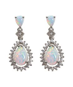 Loving this Lab-Created Opal & Lab-Created White Sapphire Teardrop Earrings on #zulily! #zulilyfinds