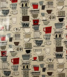 Quirky PVC depicting cups and saucers!! http://www.justfabrics.co.uk/curtain-fabric-upholstery/pomegranate-afternoon-tea-fabric/
