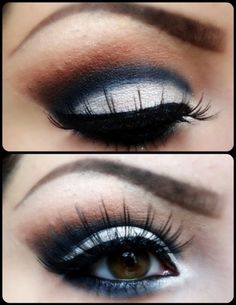 White + Navy + Brown Eyeshadow with Black Eyeliner