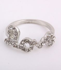 Silver Crystal Love Midi (Above Knuckle) Ring from P.S. I Love You More Boutique
