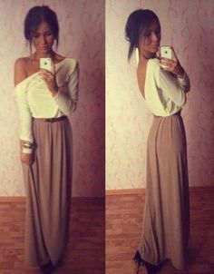 Long skirt long sleeves | Download the app for the fashionista on the go at http://app.stylekick.com Find more dresses and women's fashions at www.aestheticofficial.com