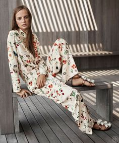 "toryburch: ""P is for Print Happy And for pajama dressing — like the silk shirt and the carpenter pant above, done up in a festive pattern inspired by the American Southwest. Shop Resort 2016. """