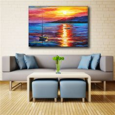 100% Handmade Modern Palette Knife Sea And Sun Oil Painting On Canvas Art Pictures For Room Decor Wall Paintings Picture