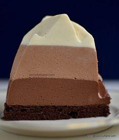 Tort trio de ciocolata reteta autentica pas cu pas | Savori Urbane Sweet Recipes, Cake Recipes, Pastry Cake, Sweet Tarts, Desert Recipes, Dessert Bars, Mini Cakes, No Bake Desserts, No Bake Cake
