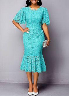 Ruffle Hem Zipper Back Half Sleeve Lace Dress Half Sleeve Dresses, Lace Dress With Sleeves, African Print Fashion, Africa Fashion, Nigerian Lace Styles, Plus Size Bridesmaid, Short Gowns, Spandex Dress, Classy Dress