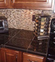 Granite Tile Kitchen Countertops kitchen granite tile countertop and glass backsplash in fort