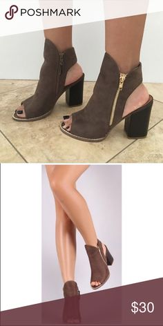 634fc2b23f86 Taupe Open-Toed Booties Super cute and comfy taupe booties! Perfect for  spring and