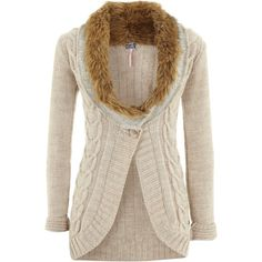Lipsy Fur Trim Cable Cardigan ($53) ❤ liked on Polyvore