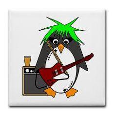 Mr Penguin, Penguin, Cute, Funny, Cartoon, Bird, Goldfishdreams, Punk, Alternative, Guitar, Punky,