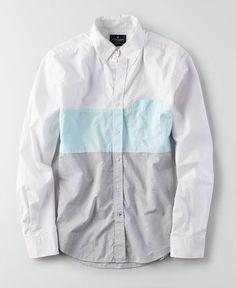 AEO Microstripe Button Down Shirt, Men's, Seafoam