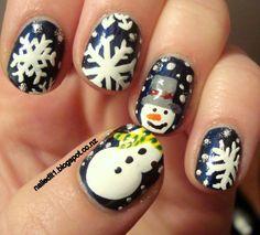 Snowman/Snowflake Nails - Winter Christmas Nail Art