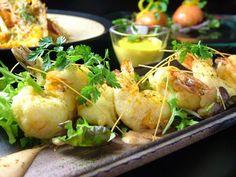 Okayama|Restaurant|京都Dining Sunao ─すなお─|サクサク海老マヨネーズ・ルージュ    ベニエで揚げたサクサクの海老に、海老でダシをとった自家製マヨネーズをかけてどうぞ…