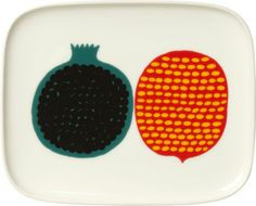 For dining room gallery wall idea >> Marimekko Kompotti Multi and White Rectangular Plate  | Crate & Barrel